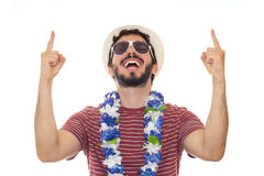 He`s having too much fun at this party. Stock Photo