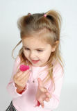 It's a heart!. Little girl is excited about her heart Royalty Free Stock Images