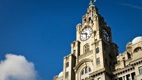 The Clock of the Royal Liver Building in Liverpool. Royal Liver Building, Liverpool, Docks, UNESCO, Heritage, Protection, Travel, Sky, Adventure stock photo