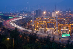 S Highway with Container Terminals Stock Photo