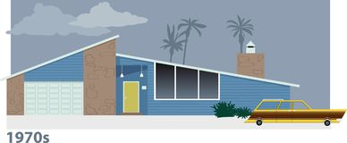 1970s home and car. Exterior of 1970s modern suburban home with a station wagon in front of it, EPS 8 vector illustration. The scene drawn from imagination, no stock illustration