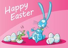 A bunny surprise for easter. It`s a illustration about an easter bunny and an egg surprise stock illustration