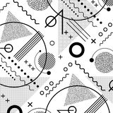 1980s inspired memphis pattern background. In black and white royalty free illustration