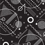 1980s inspired memphis pattern background. In black and white stock illustration