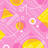 1980s inspired memphis pattern background. In pink and yellow vector illustration