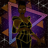 80s inspired sci-fi illustration of a woman. 1980's style image with a black woman wearing a neon yellow and black dress. Graphics are grouped and in several vector illustration