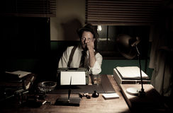 1950s journalist working late at night Stock Photos