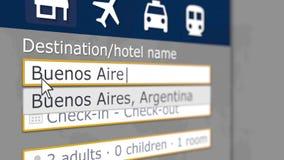 S?kande av hotellet i Buenos Aires, Argentina p? en online-boka plats Sl?kt tolkning 3D f?r lopp stock illustrationer