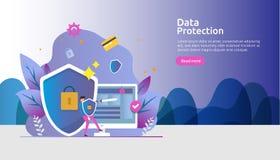 S?kerhet och f?rtroligt dataskydd E r royaltyfri illustrationer