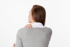 20s kobieta w tylnym widoku z ciała napięciem i zmęczeniem Zdjęcia Royalty Free