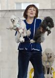 S.Korovaeva and her dogs Stock Photo