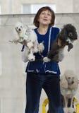 S.Korovaeva and her dogs Stock Photo