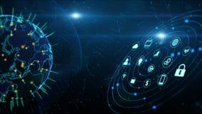 S?kra data knyter kontakt f?r Cybers?kerhet f?r Digitala data f?r Digital begrepp cyberspace Jordbest?ndsdel som m?bleras av Nasa vektor illustrationer