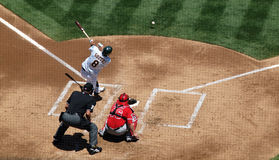 A's Kurt Suzuki makes contact with a pitch Royalty Free Stock Image