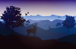Vector_Landscape_02. It`s a  landscape of Africa. it will use as Illustration, background, wallpaper Royalty Free Stock Image
