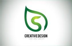 S Leaf Logo Letter Design with Green Leaf Outline Royalty Free Stock Image