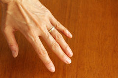 40s, the left hand of 50-something women Royalty Free Stock Photo