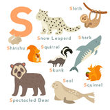 S letter animals set. English alphabet Stock Photography