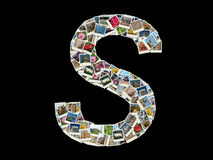 S letter - collage of travel photos Royalty Free Stock Image