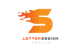 S Letter Flame Logo Design. Fire Logo Lettering Concept. Stock Images