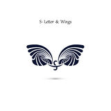 S-letter sign and angel wings.Monogram wing vector logo template Stock Image