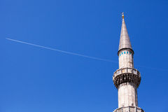 Süleymaniye Mosque Minaret & Aircraft Royalty Free Stock Images