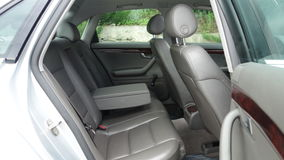 S line car interior - year 2002, Full option equipment, photo session, leather interior. Premium car leather interior, mahogany design, electric seats Stock Image