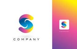 S Logo Letter With Rainbow Vibrant Mooie Kleuren S Kleurrijk T Stock Fotografie