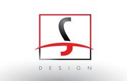 S Logo Letters avec des couleurs et le bruissement rouges et noirs Image stock