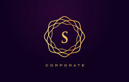S luksusu logo Monograma Listowego projekta wektor Fotografia Stock