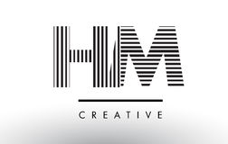 S.M.H M Black et lignes blanches lettre Logo Design Illustration Libre de Droits