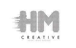 S.M.H M Letter Logo avec les points et les traînées noirs Photos libres de droits