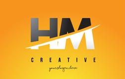 S.M.H M Letter Modern Logo Design avec le fond jaune et le Swoo illustration libre de droits