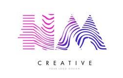 S.M.H M Zebra Lines Letter Logo Design avec des couleurs magenta Photos libres de droits