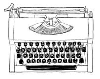 70s manual typewriter Vintage black and white line art. Cute Royalty Free Stock Photo