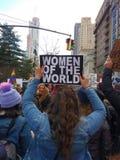 ` S março das mulheres, mulheres do mundo, NYC, NY, EUA fotografia de stock royalty free