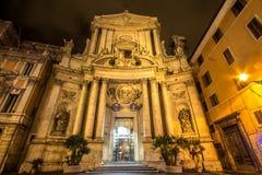 S Marcello al Corso Church i Rome på natten, Italien arkivbilder