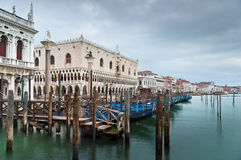 S.Marco Canal view with gondolas in winter Stock Images