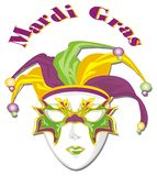 It`s a mardi gras. Mardi gras and happy colored mask stock illustration