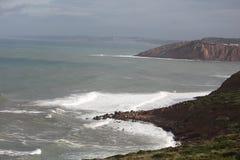 S Martinho Porto (south) - Portugal. South of S Martinho do Porto - Portugal with big hills trough the sea Royalty Free Stock Image