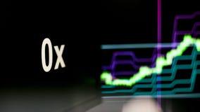 s?mbolo de 0x Cryptocurrency O comportamento das trocas do cryptocurrency, conceito Tecnologias financeiras modernas ilustração stock