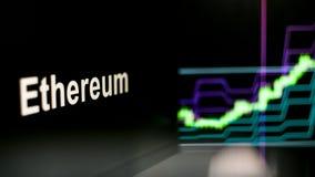 S?mbolo de Ethereum Cryptocurrency O comportamento das trocas do cryptocurrency, conceito Tecnologias financeiras modernas fotos de stock royalty free