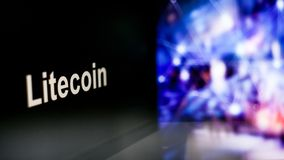S?mbolo de Litecoin Cryptocurrency comportamiento de los intercambios del cryptocurrency, concepto Tecnolog?as financieras modern fotos de archivo libres de regalías