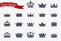 S?mbolos da coroa A rainha do rei coroa da crista imperial da tiara da princesa da coroa??o do monarca a concess?o real luxuosa d ilustração stock