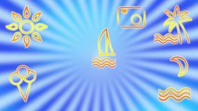 S?mbolos del viaje, de la reconstrucci?n y del turismo en un fondo de rayos giratorios del azul Arte de videoclip