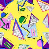 80s Memphis pattern. From different shapes on yellow background stock illustration