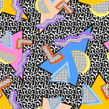 80s Memphis pattern. Of triangles of different colors, with different shapes on the background of noise stock illustration