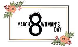 s międzynarodowego dnia kobiet Sztandar, ulotka dekoruje papierowymi kwiatami dla Marzec 8 i ręka rysujący literowanie, ilustracji