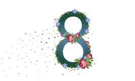 s międzynarodowego dnia kobiet Sztandar, ulotka dekoruje papierowymi kwiatami dla Marzec 8 ilustracja wektor