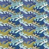 S?ml?s abstrakt retro geometrisk modell Swirly prydnader i geometriska rader royaltyfri illustrationer
